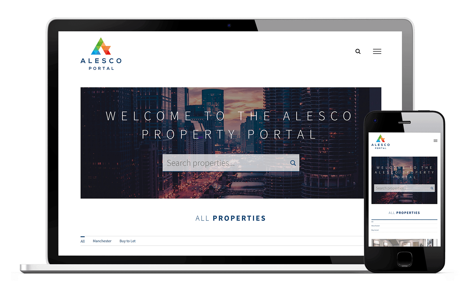 Alesco Property Portal: Laptop and Mobile